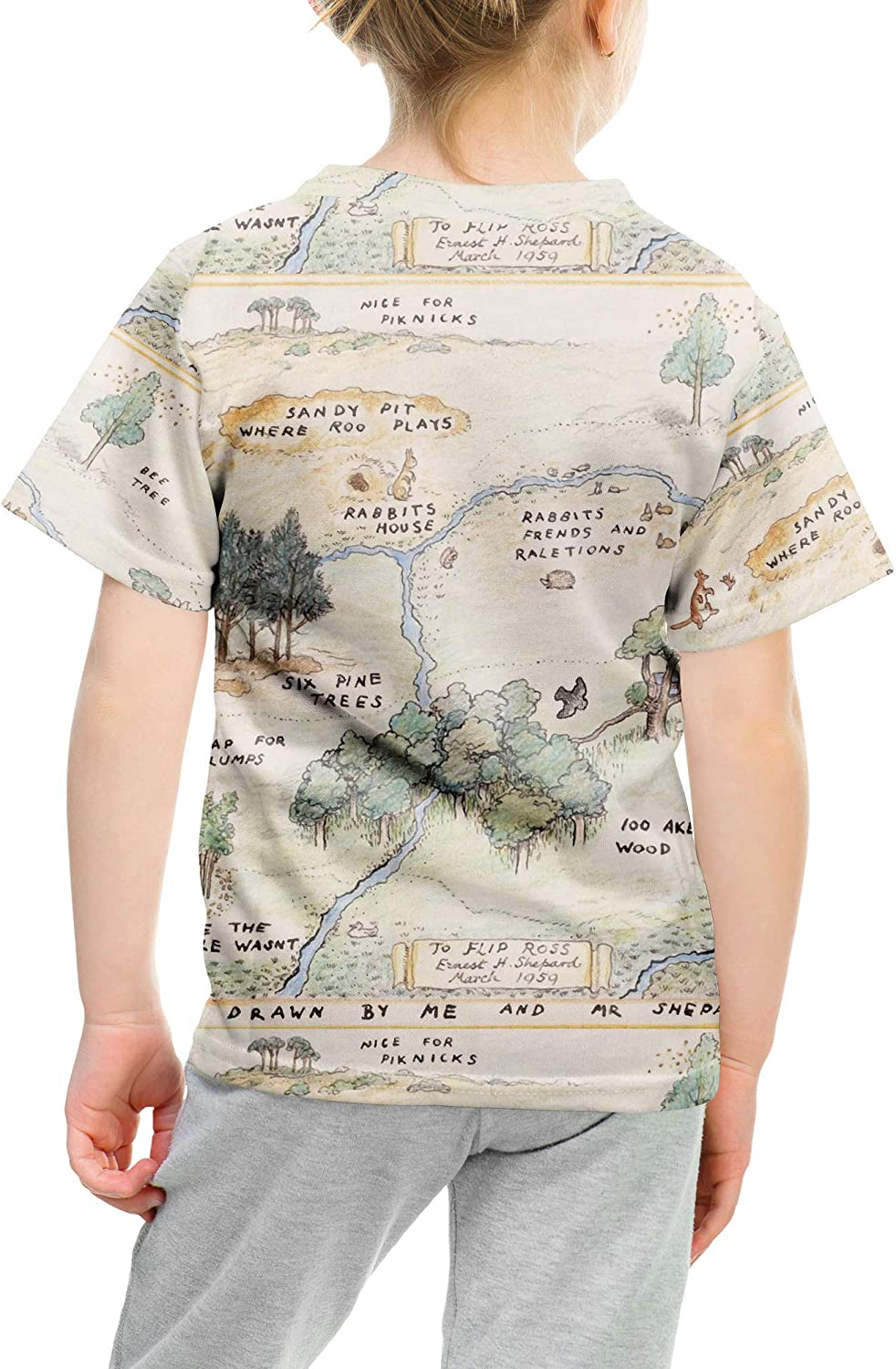 Rainbow Rules Hundred Acre Wood Map Winnie The Pooh Inspired Kids Cotton Blend T-Shirt Unisex