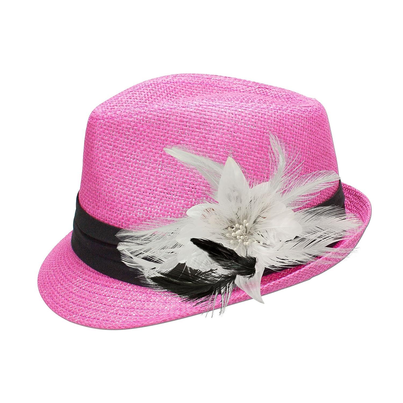 Alpenflüstern Damen Strohhut Trachtenhut pink mit Feder-Clip ADV04800010 weiß