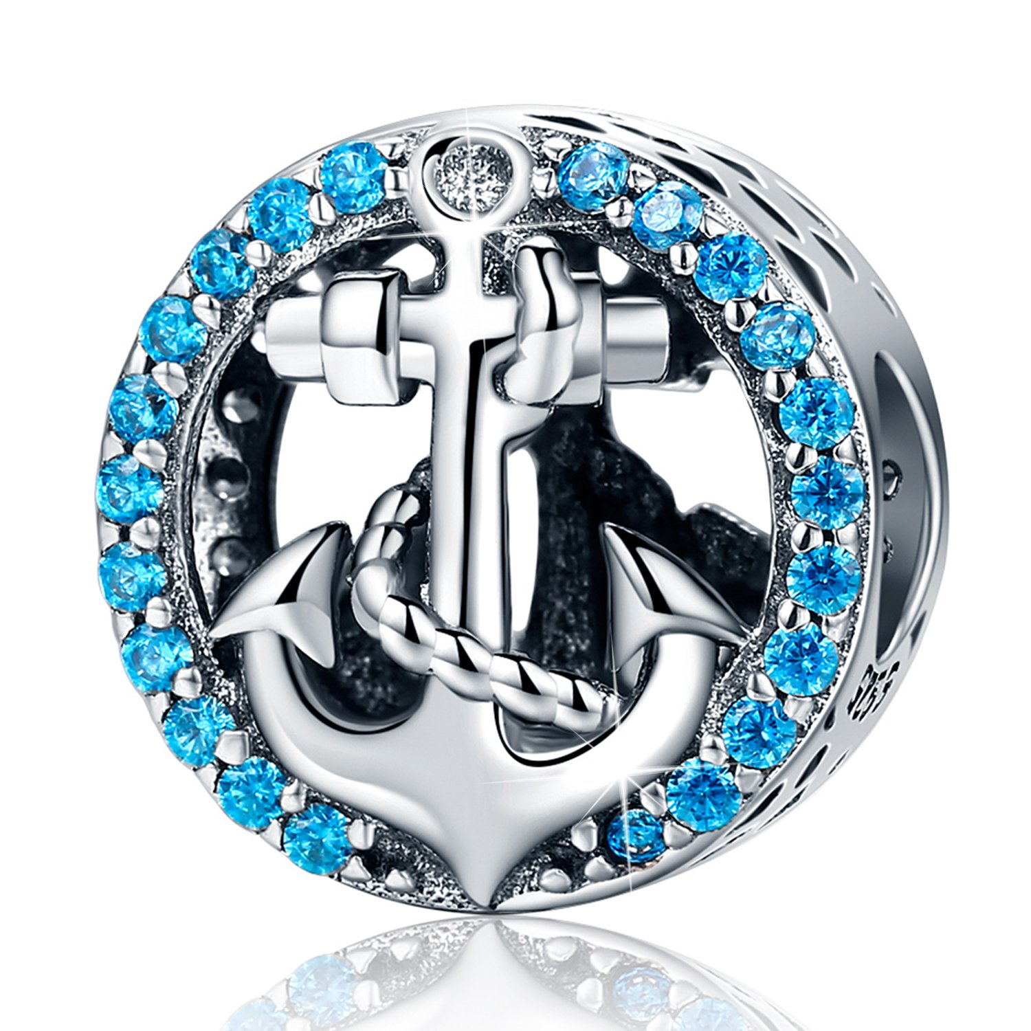 XingYue Jewelry S925 Sterling Silver Boat Anchor Bead Charm,Nautical Anchor Crystal Charm Bead fit Women Charms Bracelets (Nautical Anchor Charm Bead)