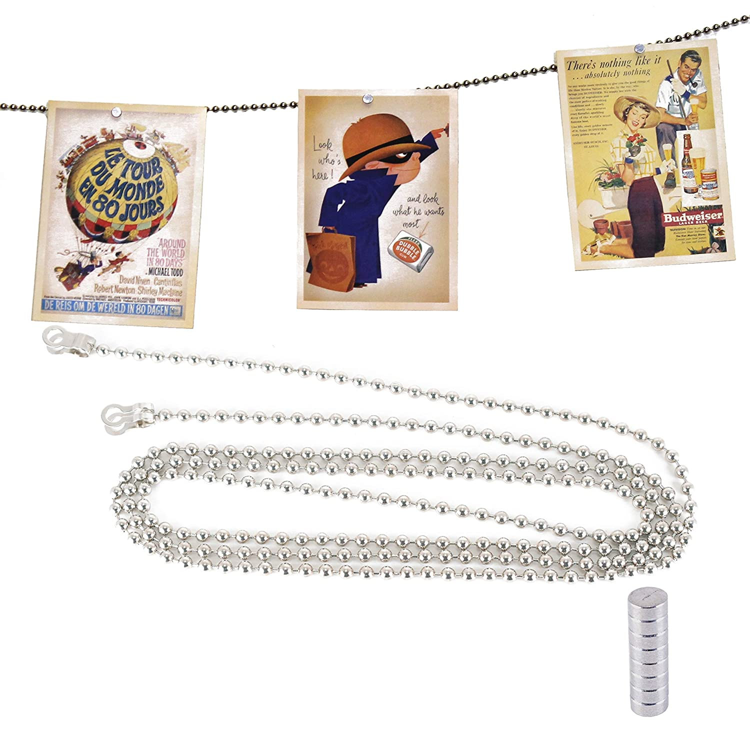 Magnetic Card Holder Display DoLessMore 5 FT Ball Chain Photo Frame with 8 Strong Magnets