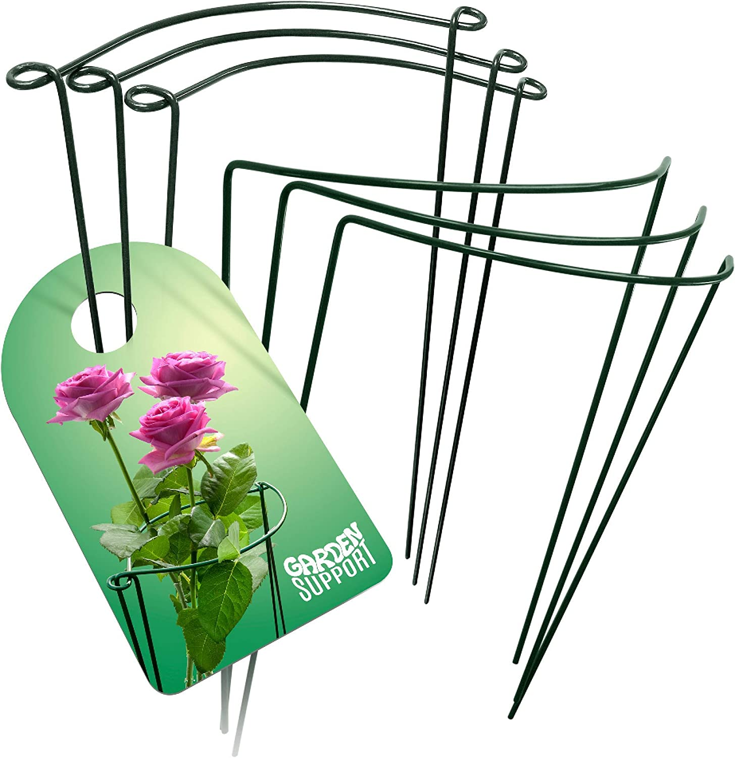Strong & Sturdy Plant Support Cages - 6pcs 11.8'' x 15.7'' Metal Rings for Peony Rose & Hydrangea | Interconnectable Wire Half Hoops | Perfect for Indoor Potted or Garden Flowers & Vine Grow Holders