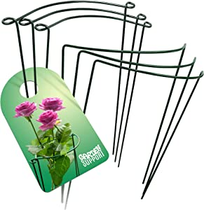 Strong & Sturdy Plant Support Cages - 6pcs 9.4'' x 15.6'' Metal Rings for Peony Rose & Hydrangea | Interconnectable Wire Half Hoops | Perfect for Indoor Potted or Garden Flowers & Vine Grow Holders