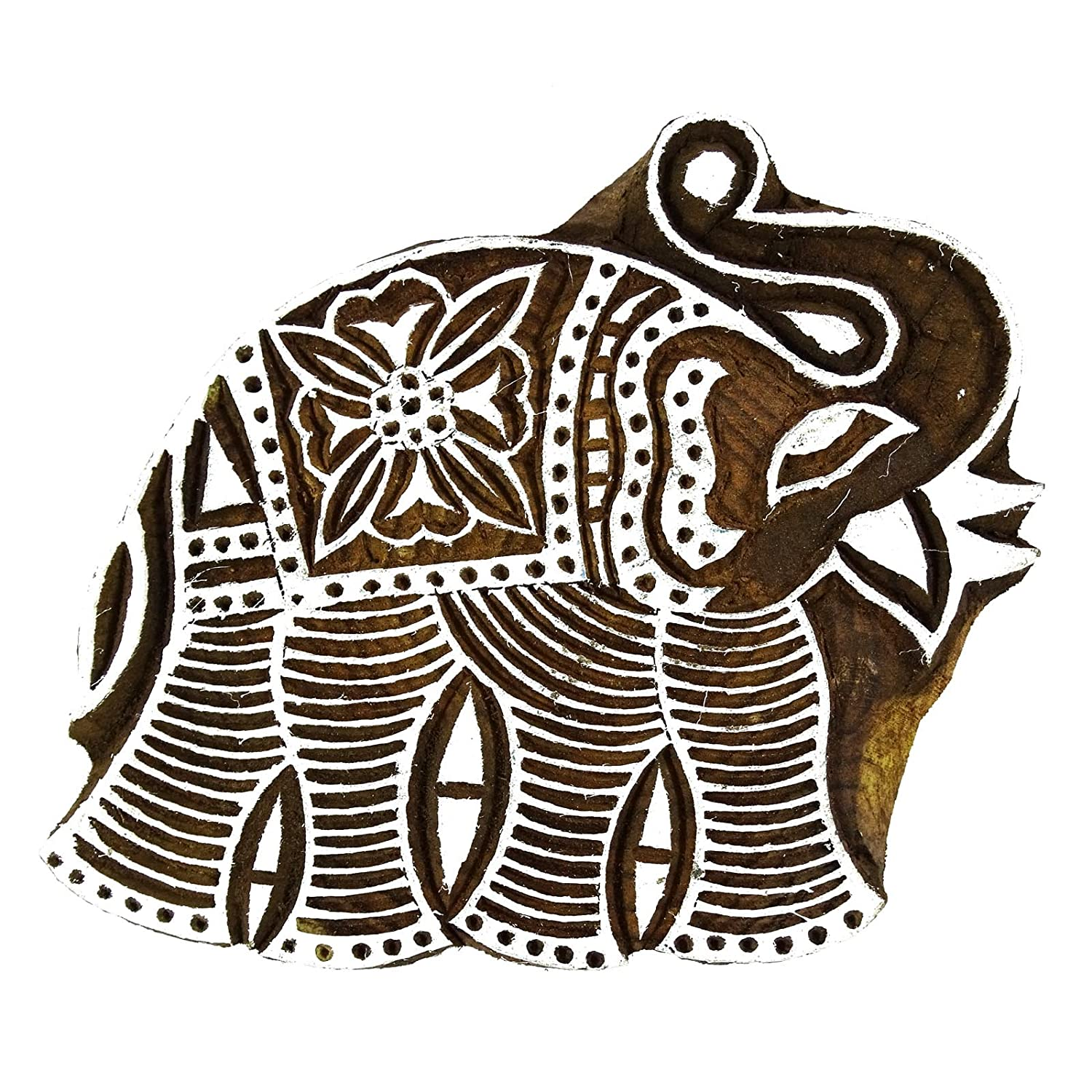 Elephant Wood Block Hand Carved Brown Printing Block Textile Stamp Indianbeautifulart