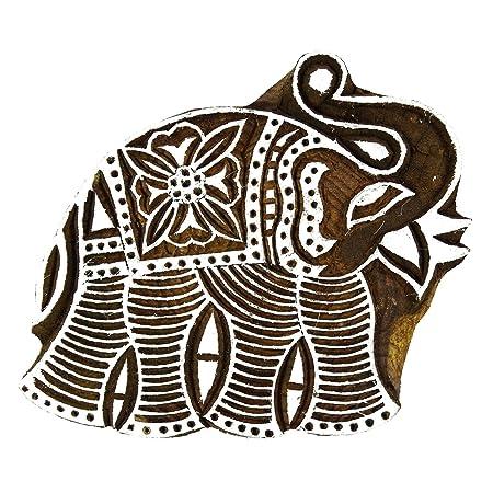 3c5887233058 Hand Carved Stamp Elephant Wooden Block Art Block Print Textile Printing  Block  Amazon.co.uk  Kitchen   Home