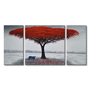 Sensational Winpeak Art Chair Under Red Tree Hand Painted Modern Oil Painting Landscape Wall Art Abstract Picture Contemporary Artwork Canvas Stretched Ready To Machost Co Dining Chair Design Ideas Machostcouk