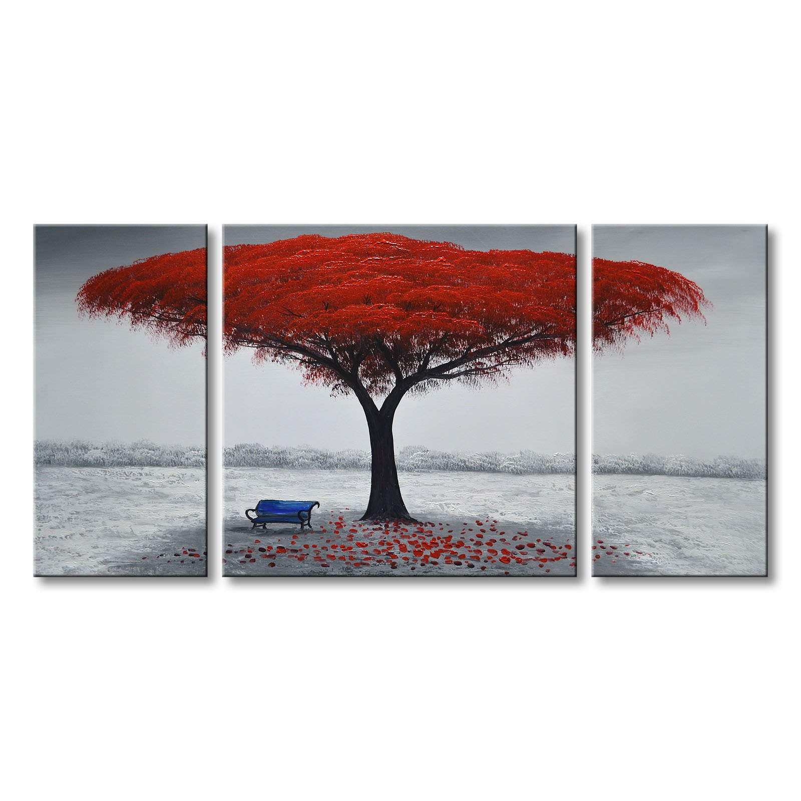 Winpeak Art Chair Under Red Tree Hand-painted Modern Large Oil Painting Landscape Canvas Wall Art Abstract Picture Contemporary Artwork