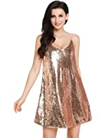 GRAPENT Women's Sexy Silver Sequins V Neck Mini Slip Loose Club Party Dress