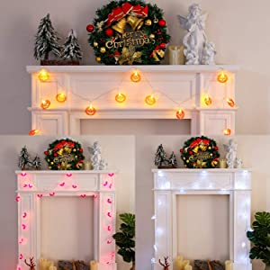 Brightdeco Thanksgiving Artificial Pumpkins LED String Lights Set of 3 Patio Autumn Harvest Fall Festivals Décor for Home Festival Holiday Total 90 LEDs