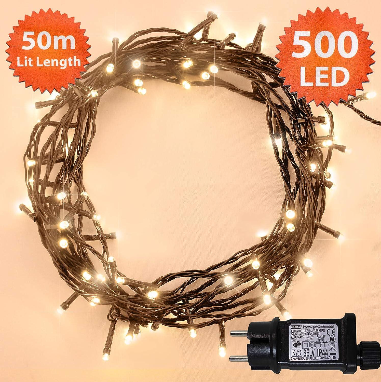 Weihnachts-Lichterketten 200 LED warme weiß e Baum-Lichter Innen- und im Freiengebrauch Weihnachtsschnur-Lichter Netzbetriebene feenhafte Lichter 20m/66ft Lit-Lä nge Grü nes Kabel ANSIO