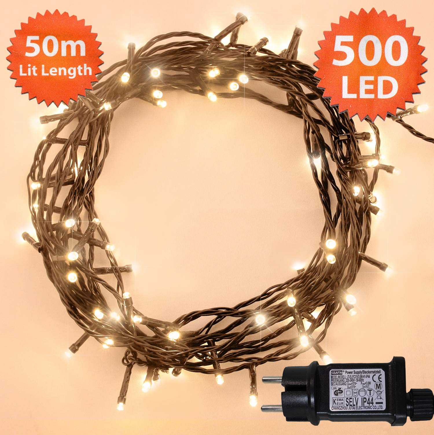 Fata luci di Natale 500 LED bianco caldo Albero luci Interni ed esterni uso  memoria   timer funzioni de96ca47867