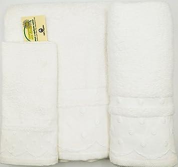 Confort Home M.T Juego de Toallas de baño 3 Piezas Modelo Perlas (1 Toalla de