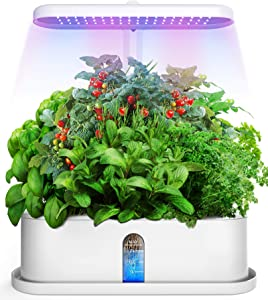 Elechome Hydroponics Growing System, Smart Indoor Herb Garden 10 Pots Plant Germination Kits Automatic Timer,Adjustable Height,Indoor Smart Garden Kits for Home Kitchen(White)