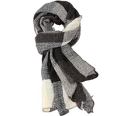 TXJ Echarpe Femme Hiver Automne Plaid Tartan Longue Châle Warm Foulards  Multicolore (Gris et 3daf298acff