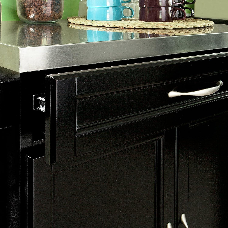 SoBuy carrito de cocina con estantes y cajones, carro con ruedas, estante de almacenamiento para cocina, acero inoxidable, negro, FKW13-SCH: Amazon.es: ...