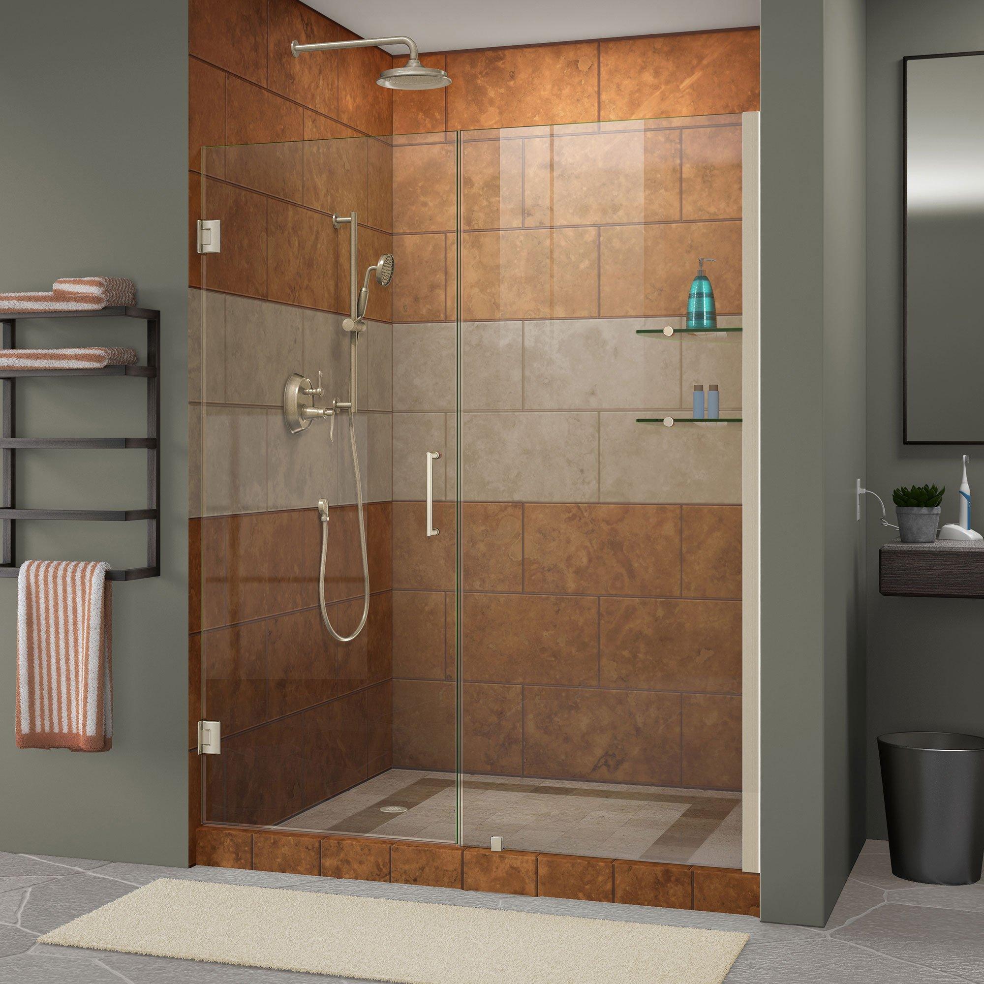 DreamLine Unidoor 57-58 in. Width, Frameless Hinged Shower Door, 3/8'' Glass, Brushed Nickel Finish