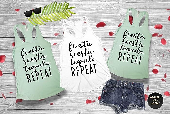 723811f24 Amazon.com: Fiesta Siesta Tequila Repeat, Bachelorette Shirt, Bachelorette  Party Shirts, Girls Trip Shirt, Girls Weekend Shirt, Vacation Shirt, ...