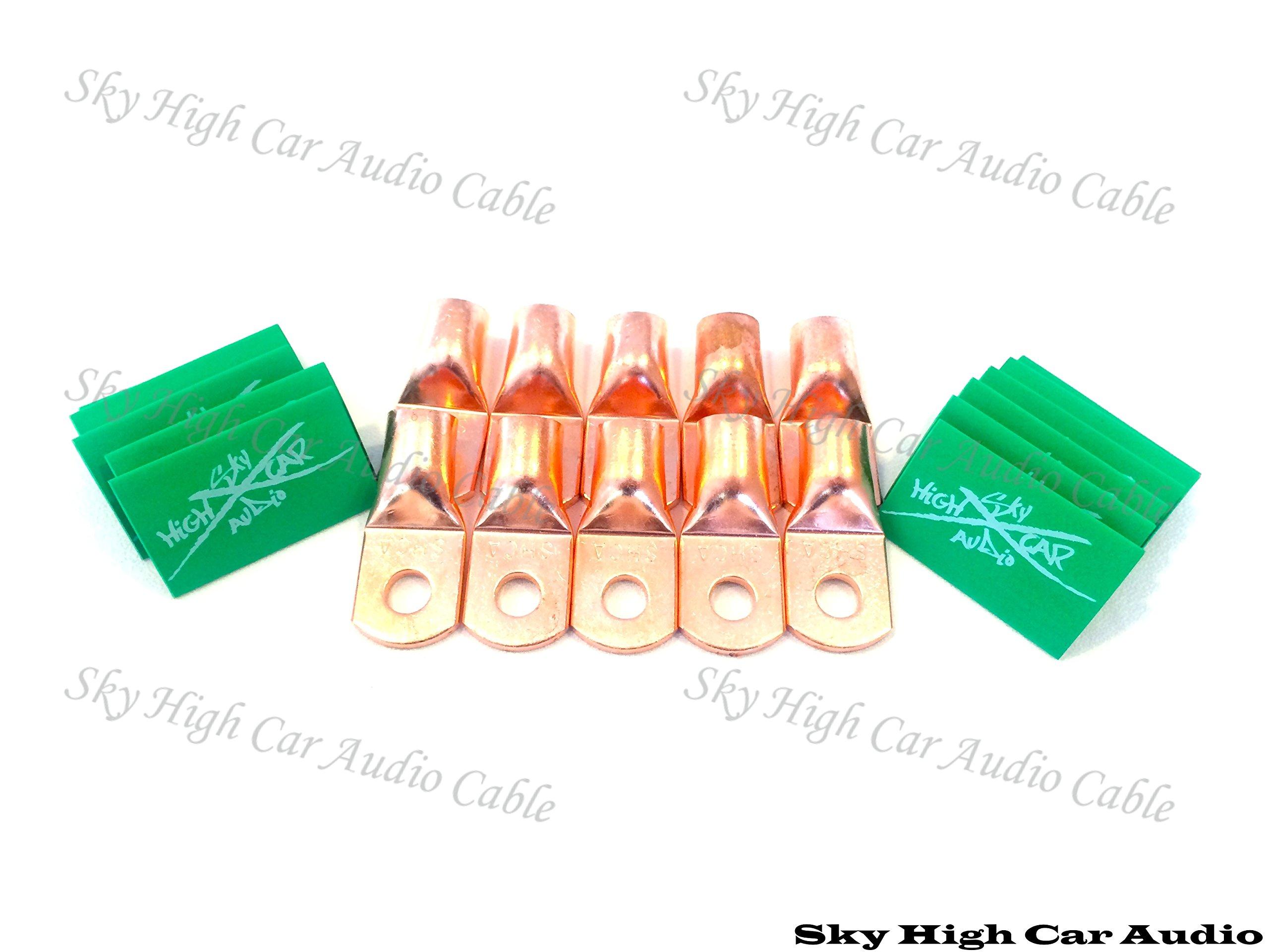 (10) 1/0 Gauge Copper Ring Terminals 3/8'' GREEN Heat Shrink Tubing LUGS