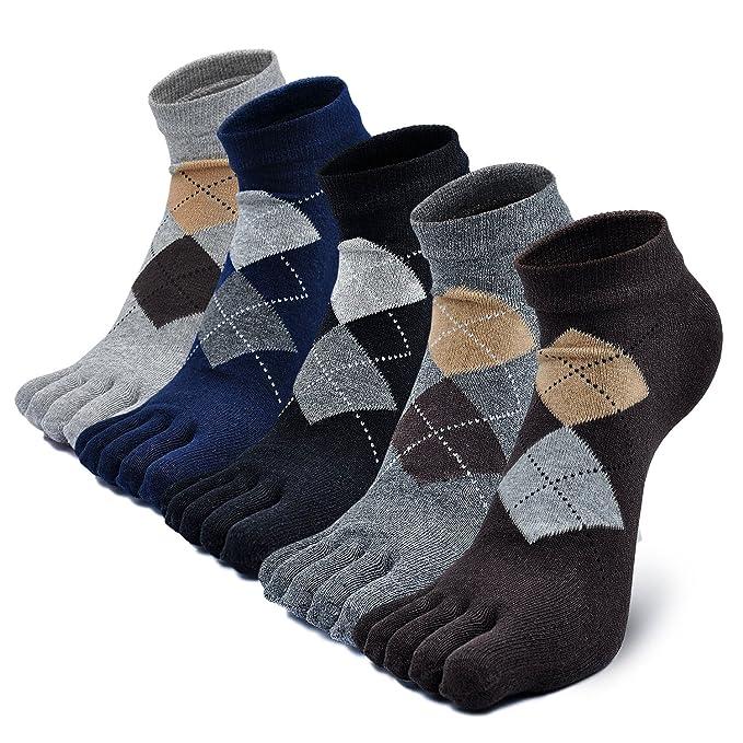 Calcetines con cinco 5 dedos hombre, calcetines antideslizantes, cinco calcetines de los dedos, calcetines de deporte, separados cómodo calcetines: ...