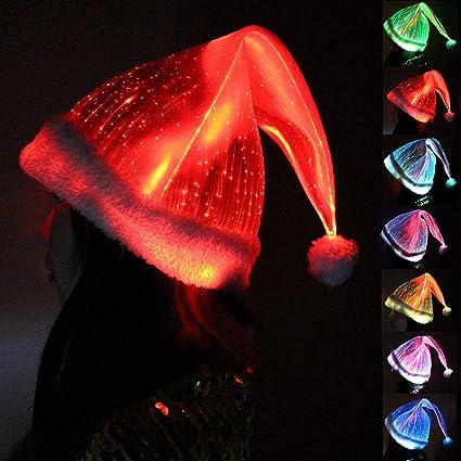Amazoncom Galexbit Christmas Hat Optical Fiber Fabric Festive