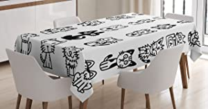 Ambesonne Cat Tablecloth Decor, Hand Drawn Sketchy Cats with Happy Face Gestures Comic Creatures Funny Art Print, Rectangular Table Cover for Dining Room Kitchen, 52 W X 70 L Inches, Black White