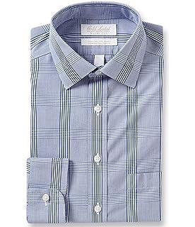 Gold Label Roundtree /& Yorke Non-Iron Stretch Slim Fit Spread Collar Check Dress Shirt S85DG311 Blue Multi