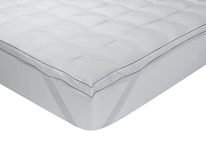 Classic Blanc - Topper, sobrecolchón extramullido de plumón de oca, algodón, 90 x 190 cm, cama 90 (Todas las medidas): Amazon.es: Hogar