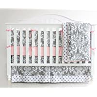 7 Pieces Set Grey Purple Floral Baby Crib Nursery Bedding Set with Bumper