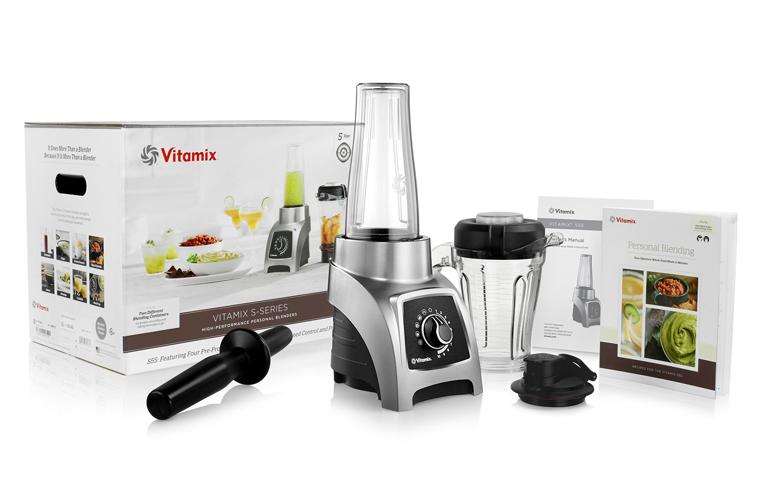 Vitamix S55 Personal Blender with 40-Ounce Container + 20-Ounce Travel Container + S-Series Blade Base + Personal Blending Recipe Cookbook + Owners Manual + Low-Profile Tamper