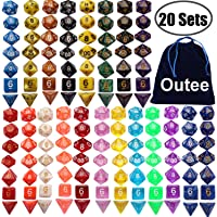 Outee 140 Pcs Polyhedral Dice Set DND Dice 20 Color Complete Dice and Dice Sets for MTG RPG Dice Game with 1 Big Pouch