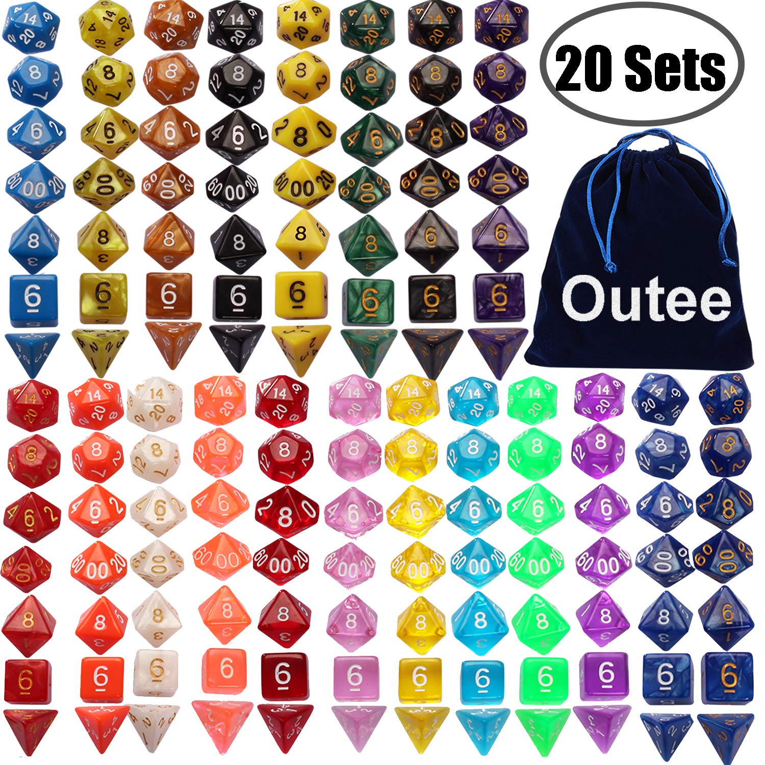 Outee 140 Pcs Polyhedral Dice Set DND Dice 20 Color Complete Dice and Dice Sets for MTG RPG Dice Game with 1 Big Pouch by Outee