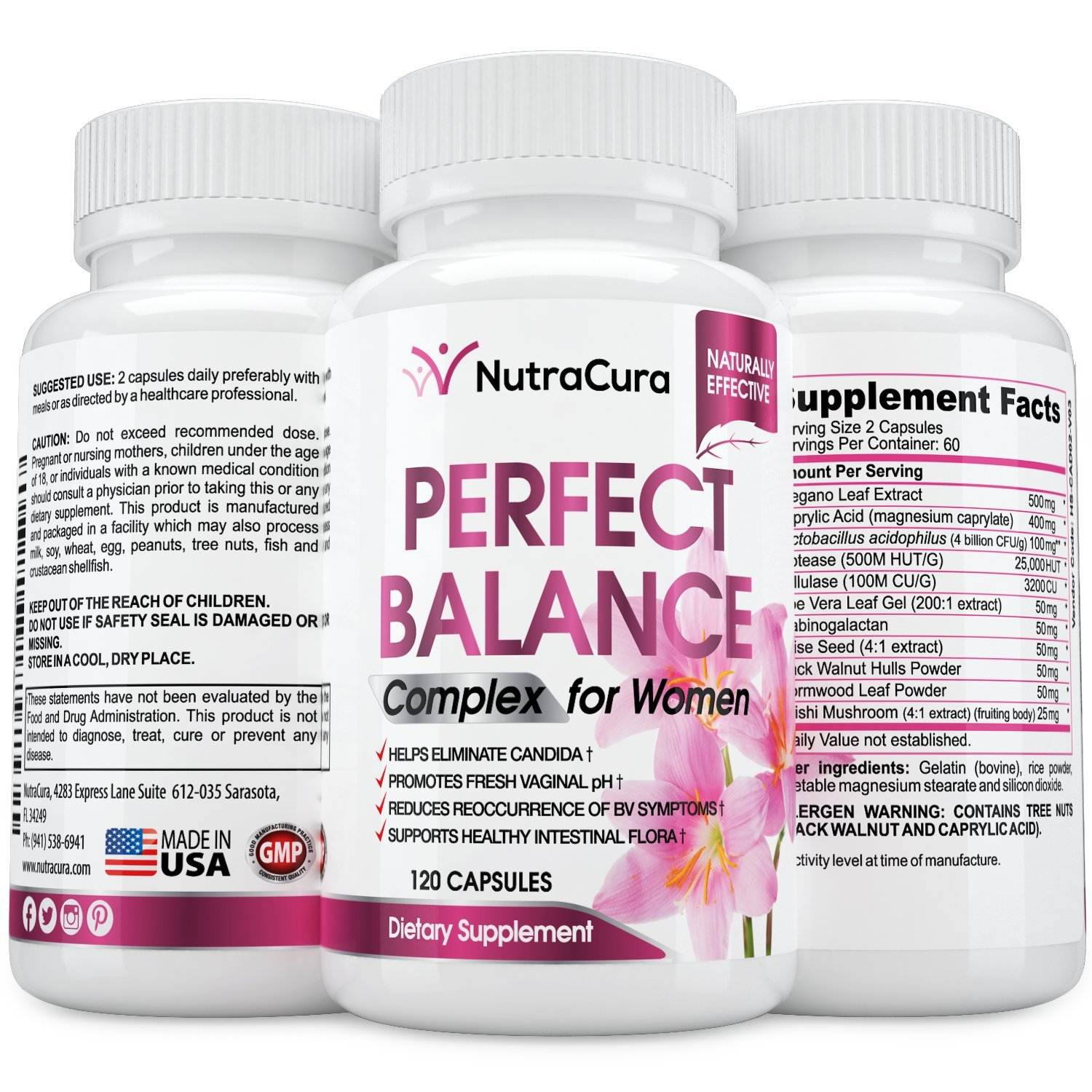 Perfect Balance Complex for Women - Vaginal Health Dietary Supplement - Helps Eliminate Candida - Promotes Fresh Vaginal pH -120 Capsules by NutraCura