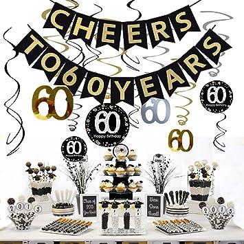 JeVenis 60a fiesta de cumpleaños Decoración Saludos a 60 ...
