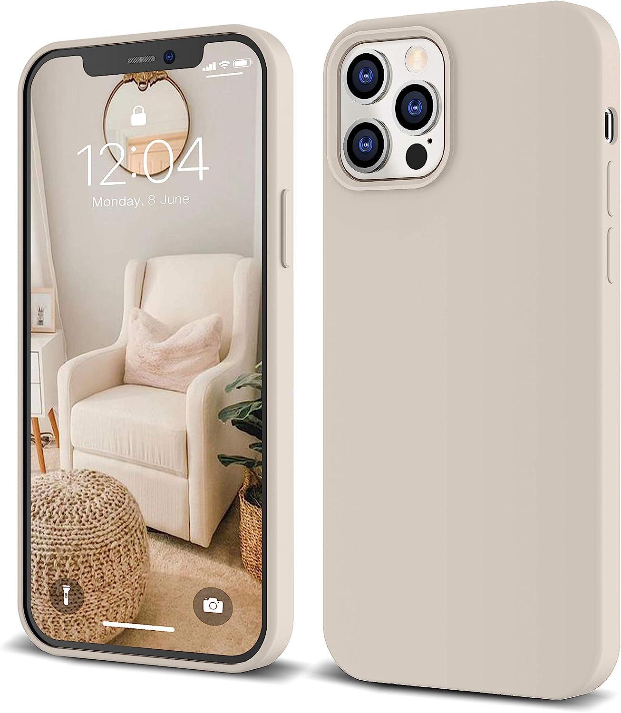 "IceSword iPhone 12 Pro Max Case 6.7"" (2020) Stone, Thin Liquid Silicone Case, Soft Silk Microfiber Cloth, Matte Pure Beige, Tan, Cream, Gel Rubber Full Body, Protective Shockproof Pro Max 6.7"