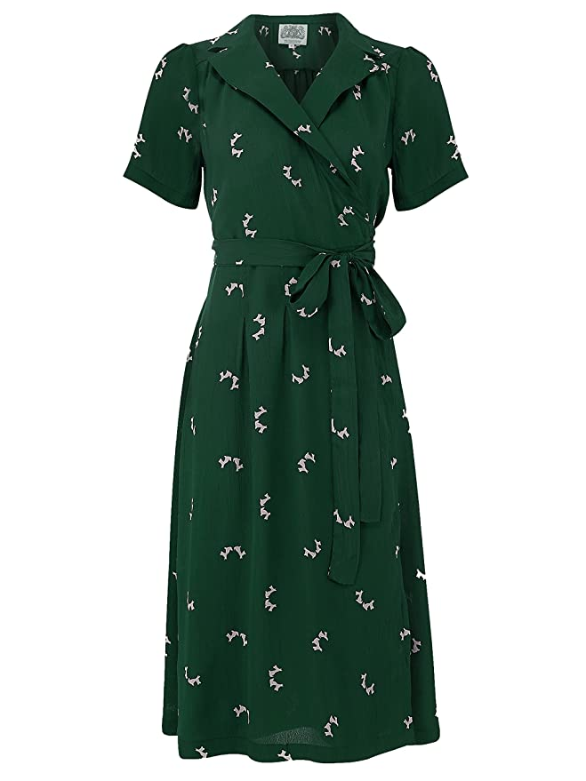 1940s Dresses | 40s Dress, Swing Dress The Seamstress of Bloomsbury 1940s Authentic Vintage Inspired Peggy Wrap Dress in Green Doggy by (UK 16) (UK 16) (UK 10) £79.00 AT vintagedancer.com