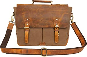 Rustic Town 15 inch Leather Canvas Laptop Messenger Briefcase Satchel Bag