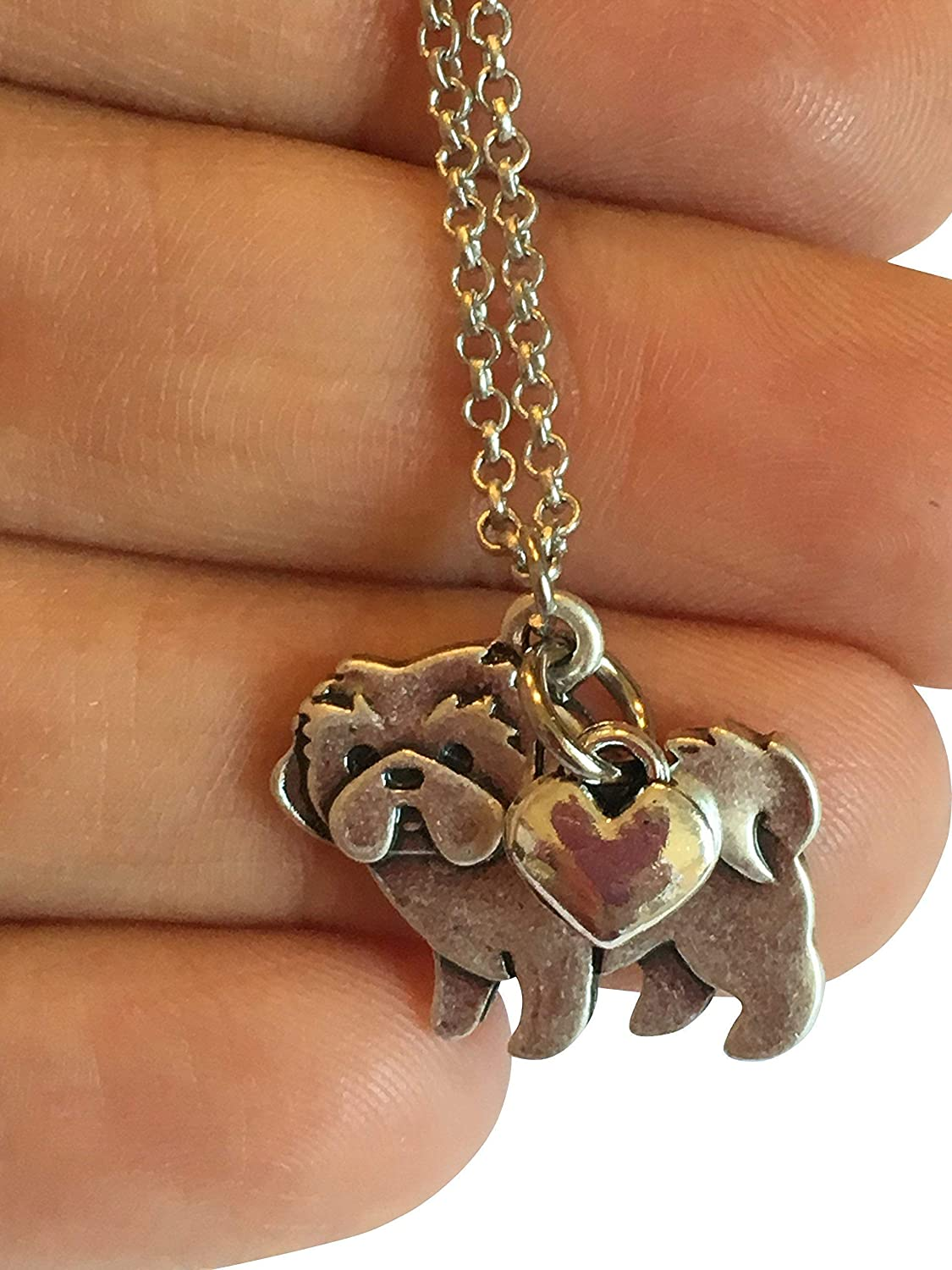 Shih Tzu Dog Pets Charms Silver Plated Charm Bracelet Pendant with Loop W//Ring