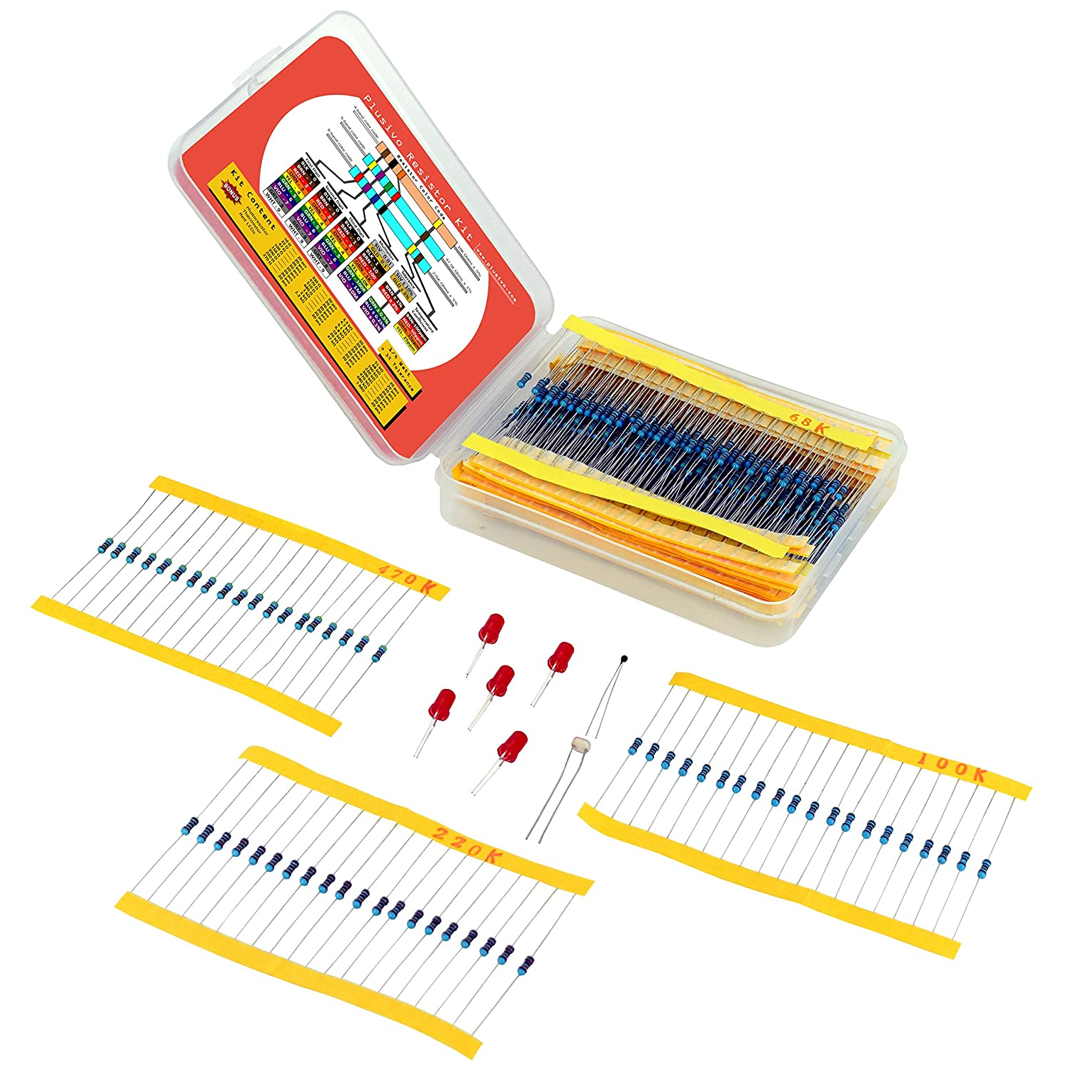 Metal Film Resistors Variety Pack with 30 Values Plus Thermistor Set of 600 Assorted Resistors from 10 Ohm to 1 MOhm in a Box Resistor Assortment Kit Photoresistor and 5 LEDs from Plusivo WiderCable