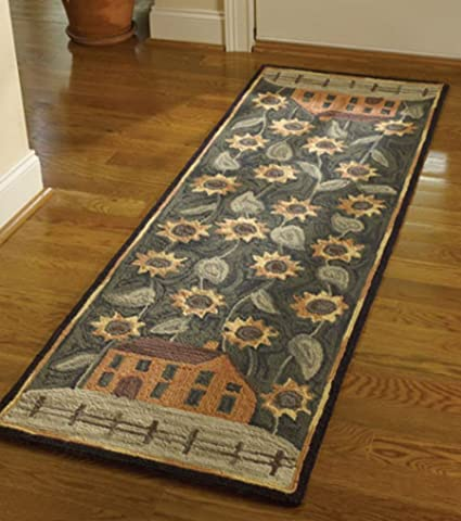 Amazoncom Park Designs House And Sunflower Hooked Rug Runner 24x72