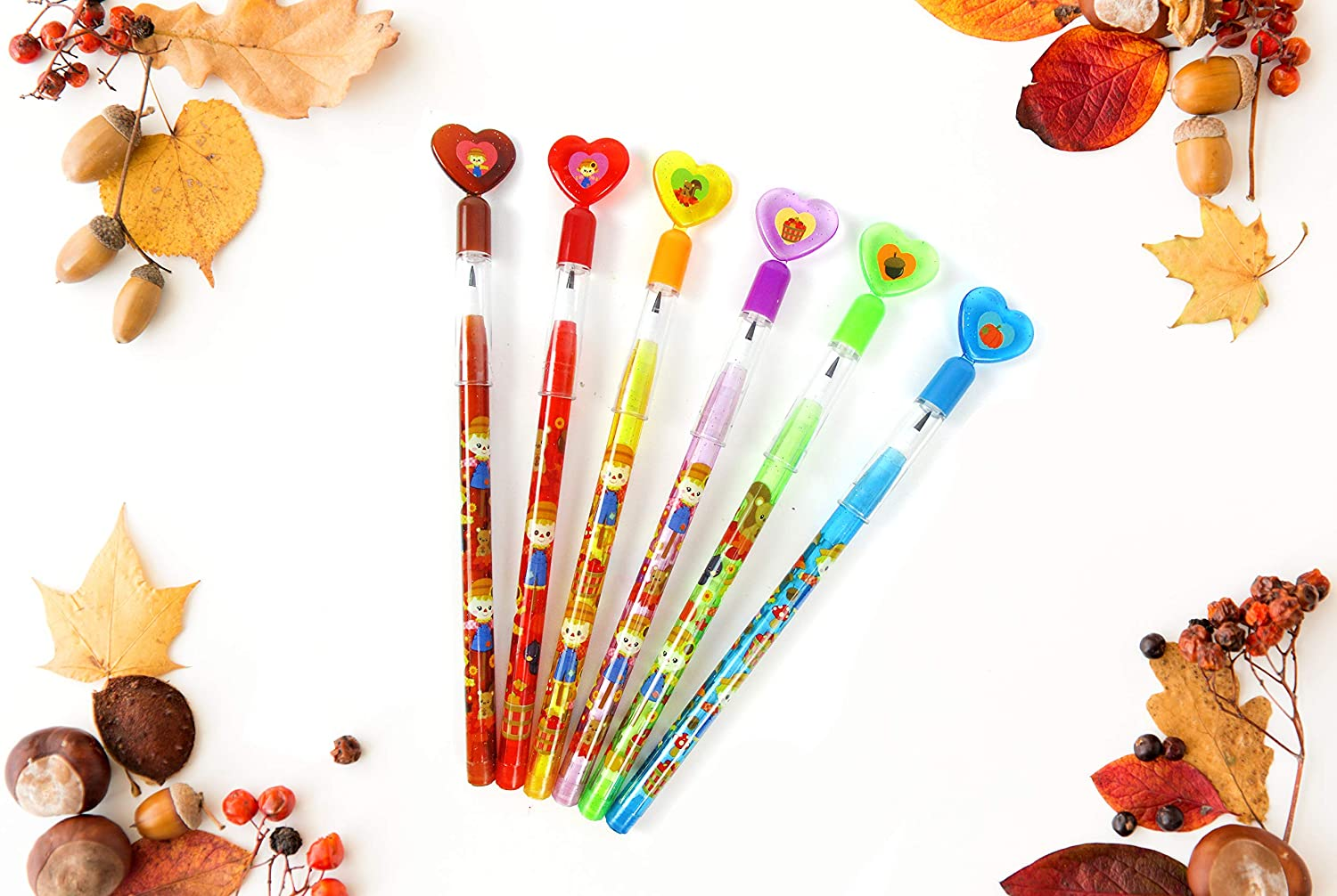 TINYMILLS 24 Pcs Fall Harvest Autumn Thanksgiving Multi Point Pencils Party Favors Goodie Bag Stuffers Carnival Prize Classroom Rewards