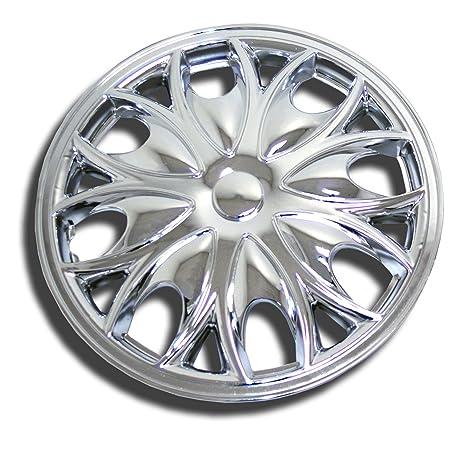 tuningpros wsc-526 C15 cromo Tapacubos rueda Skin Cover 15-inches plata conjunto de