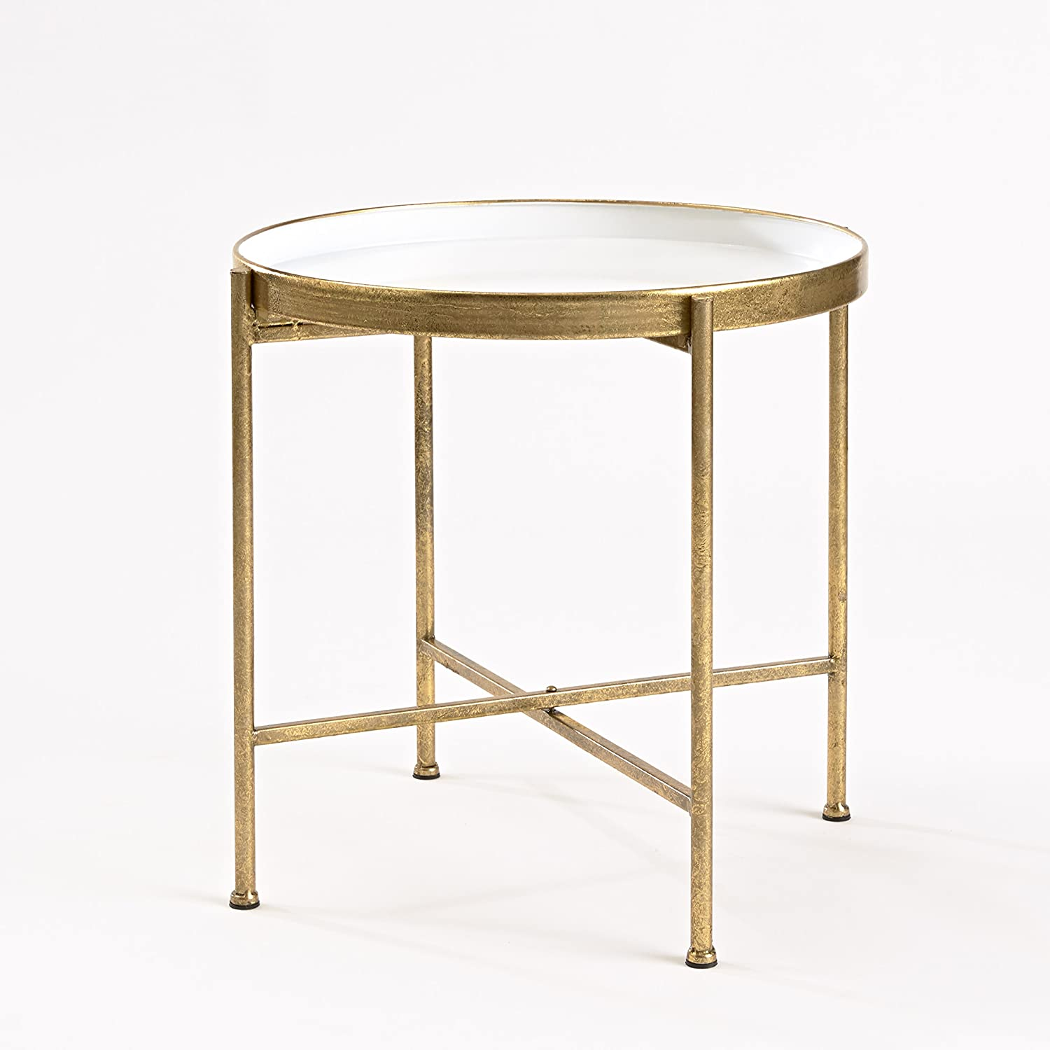 InnerSpace Luxury Products Gild Pop Up Tray Table, Large, White