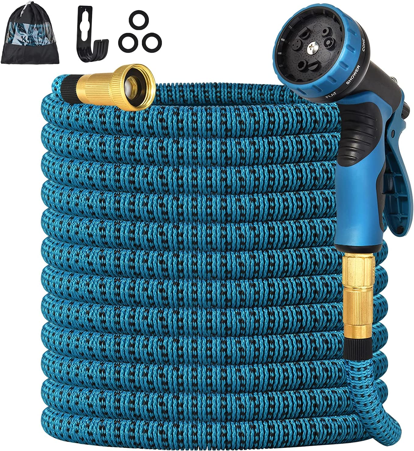 Knauue Expandable Garden Hose 25 FT, Flexible Lightweight Water Hose with 9 Way Spray Nozzle, Durable 3-Layer Latex Core,3/4 Solid Brass Fittings, Portable, and Kink Free Water Hose