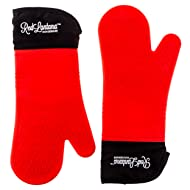 Silicone Oven Mitt - Set of 2 - Strong Non-slip Grip with Extra Long Built-in Cotton Interior Lining for Extra Protection of Lower Arm - Double Left- Or Right-handed Use - Professional Elbow-length Mittens Best Used As Baking, Grilling, BBQ, Kitchen or Oven Gloves!