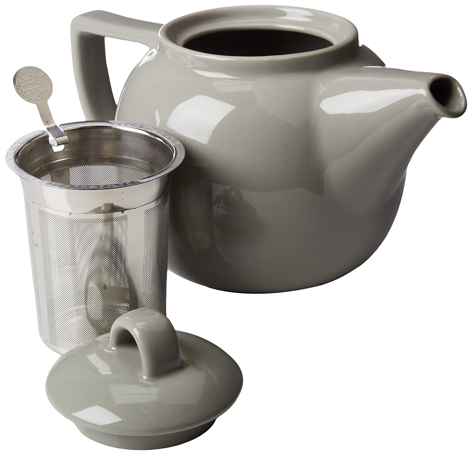 London Pottery Geo Teapot with Stainless Steel Infuser, 4 Cup Capacity, Cobblestone Grey