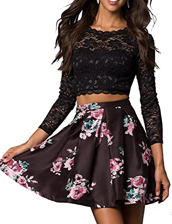 1b250f04a4c2 Momabridal 2 Pieces Short Floral Homecoming Dresses Lace Prom Dresses Party  Gowns Long Sleeve Black Size