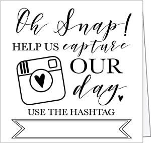 25 Black and White Wedding Hashtag Signs, Vintage Table Top Place Cards or Photo Booth Oh Snap Sign, Quotes for Wedding, Wedding Reception or Ceremony Decor