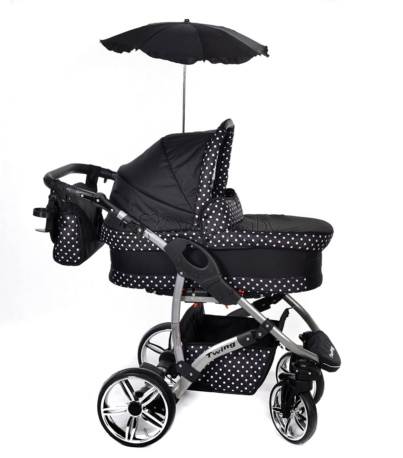 Pushchair /& Accessories 3-in-1 Travel System with Baby Pram Black /& White Polka Dots Car Seat Twing