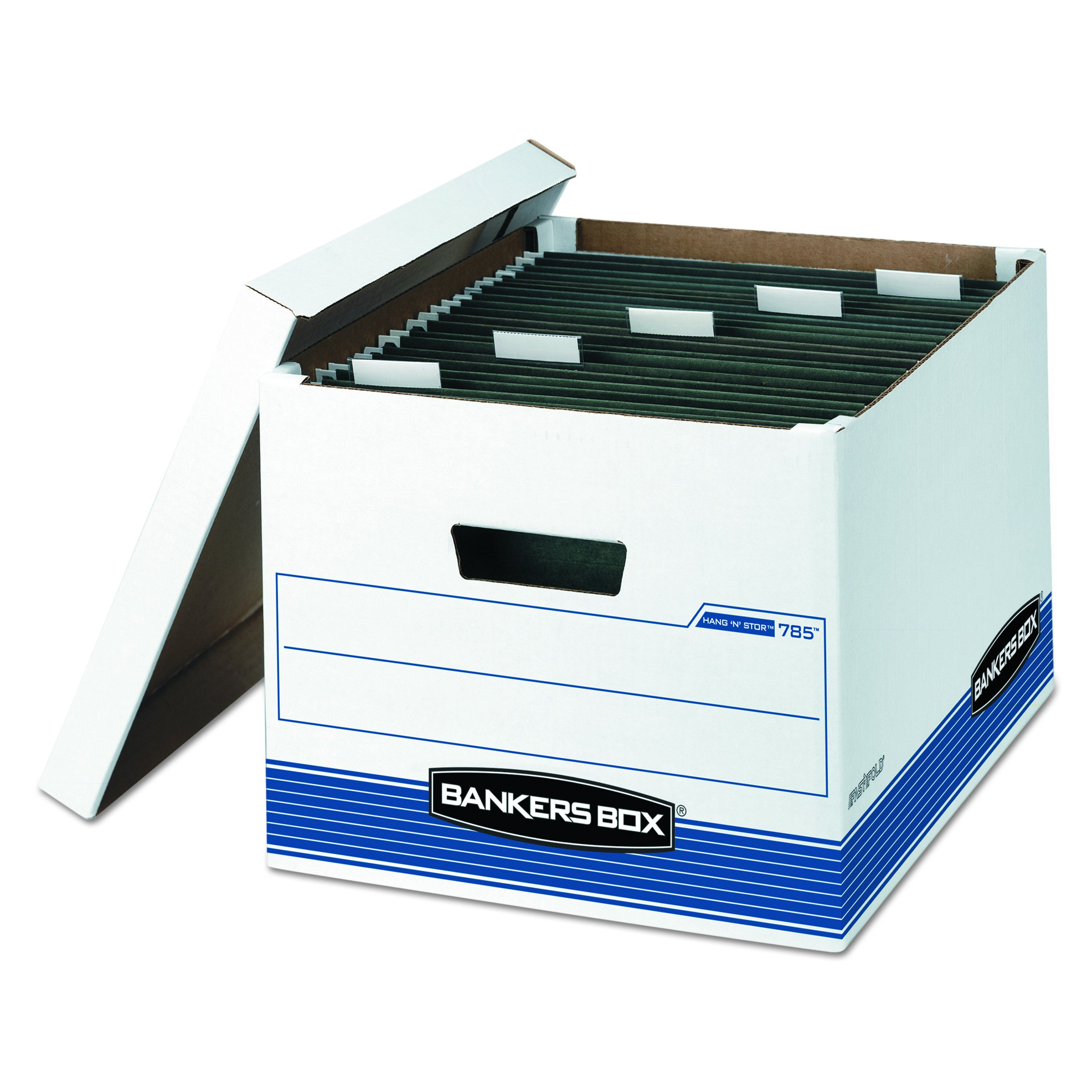 Bankers Box 00785 HANG'N'STOR Storage Box, Legal/Letter, Lift-off Lid, White/Blue (Case of 4)