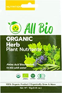 ALL BIO - Organic Plant Food - Herb Plant Nutrients/Biostimulants for Indoor House Plants and Outdoor Plants/Mixed in Water/Foliar Spray. Covers Approx. 1,800 sq.ft (10g)