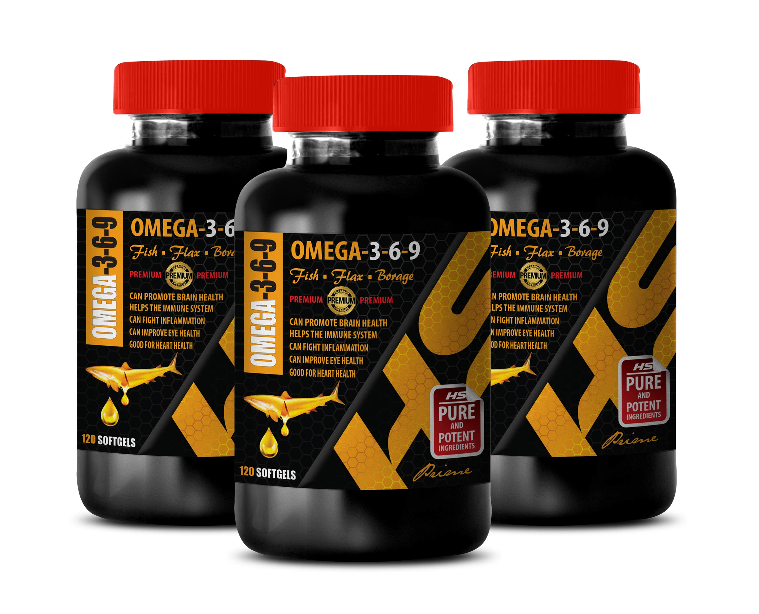Immune Support Formula - Omega 3-6-9 Premium Complex with Fish, Flax & Borage - 3-6-9 Omega Fish Oil - 3 Bottles 360 Softgels by HS PRIME